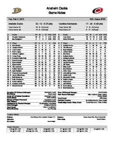 Anaheim Ducks Game Notes