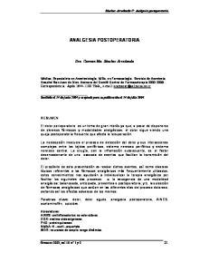 ANALGESIA POSTOPERATORIA