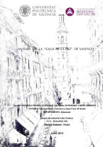 ANALISIS DE LA CALLE DE LA PAZ DE VALENCIA