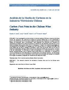 Análisis de la Huella de Carbono en la Industria Vitivinícola Chilena. Carbon Foot Print in the Chilean Wine Industry
