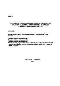 ANALISIS DE LA INGENIERIA DE REDES DE DISTRIBUCION APLICADO AL SISTEMA DE LA EMPRESA ELECTRICA GUAYSAS LOS RIOS EMELGUR S.A