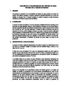 ANALISIS DE LA VULNERABILIDAD DEL SISTEMA DE AGUA POTABLE DE LA CIUDAD DE HUARAZ