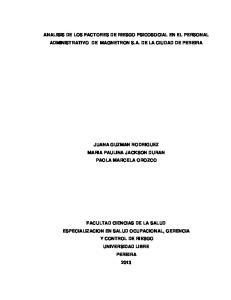 ANALISIS DE LOS FACTORES DE RIESGO PSICOSOCIAL EN EL PERSONAL ADMINISTRATIVO DE MAGNETRON S.A. DE LA CIUDAD DE PEREIRA