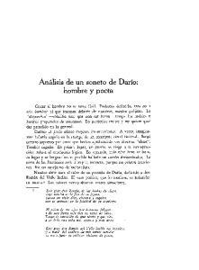 Analisis de un soneto de Dario: hombre y poeta