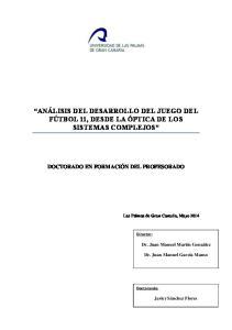 ANÁLISIS DEL DESARROLLO DEL JUEGO DEL FÚTBOL 11, DESDE LA ÓPTICA DE LOS SISTEMAS COMPLEJOS