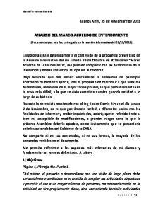 ANALISIS DEL MARCO ACUERDO DE ENTENDIMIENTO