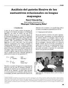 Análisis del patrón flexivo de los sustantivos relacionales en lengua mayangna