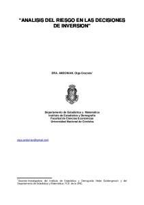 ANALISIS DEL RIESGO EN LAS DECISIONES DE INVERSION