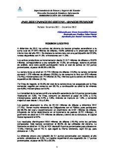 ANALISIS FINANCIERO SISTEMA : BANCOS PRIVADOS