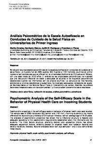 Análisis Psicométrico de la Escala Autoeficacia en Conductas de Cuidado de la Salud Física en Universitarios de Primer Ingreso