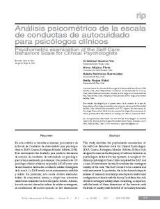 Análisis psicométrico de la escala de conductas de autocuidado para psicólogos clínicos