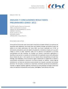 ANALISIS Y CONCLUSIONES RESULTADOS PRELIMINARES CENSO 2012