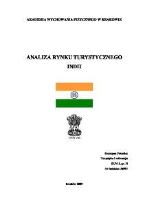 ANALIZA RYNKU TURYSTYCZNEGO INDII