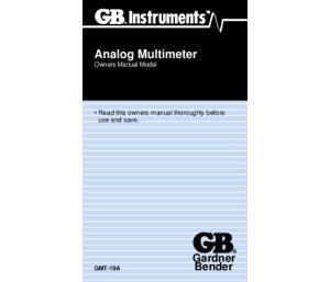 Analog Multimeter Owners Manual Model