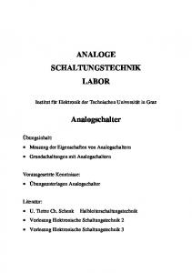 ANALOGE SCHALTUNGSTECHNIK LABOR. Analogschalter