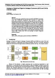 Analogue to Digital and Digital to Analogue Converters (ADCs and DACs): A Review Update