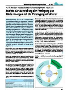 Analyse der Auswirkung der Festlegung von Mindestmengen auf die Versorgungsstrukturen