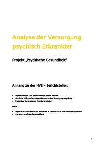 Analyse der Versorgung psychisch Erkrankter