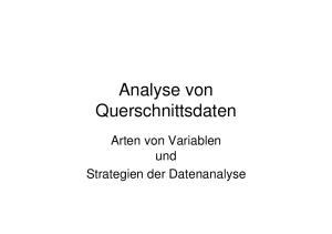 Analyse von Querschnittsdaten. Arten von Variablen und Strategien der Datenanalyse