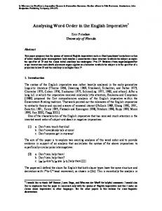 Analysing Word Order in the English Imperative *