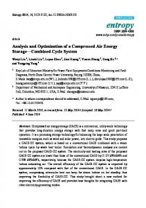 Analysis and Optimization of a Compressed Air Energy Storage Combined Cycle System