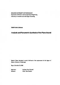 Analysis and Parametric Synthesis of the Piano Sound