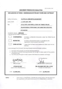 ANALYSIS AND SIMULATION OF THREE PHASE TRAPEZOIDAL PWM FOR CASCADED MULTILEVEL INVERTER FAWWAZ AMIR BIN KAMARUDIN