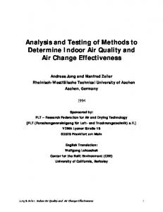 Analysis and Testing of Methods to Determine Indoor Air Quality and Air Change Effectiveness