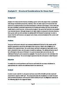 Analysis III Structural Considerations for Green Roof