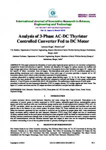 Analysis of 3-Phase AC-DC Thyristor Controlled Converter Fed to DC Motor