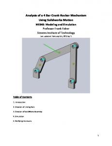 Analysis of a 4 Bar Crank- Rocker Mechanism Using Solidworks Motion