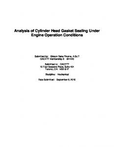 Analysis of Cylinder Head Gasket Sealing Under Engine Operation Conditions
