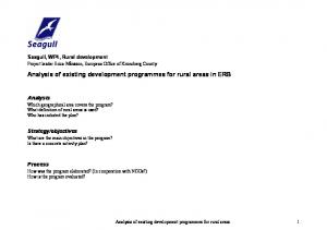 Analysis of existing development programmes for rural areas in ERB