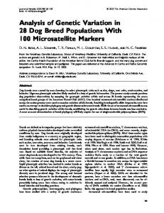 Analysis of Genetic Variation in 28 Dog Breed Populations With 100 Microsatellite Markers
