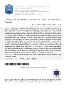 Analysis of Household Demand for Meat, in Southwest, Nigeria