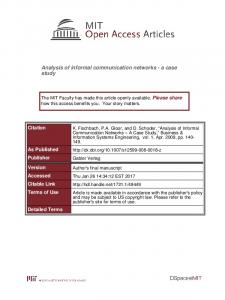 Analysis of informal communication networks - a case study