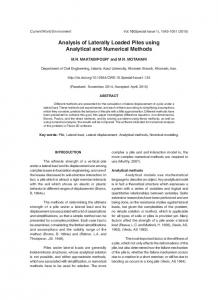 Analysis of Laterally Loaded Piles using Analytical and Numerical Methods