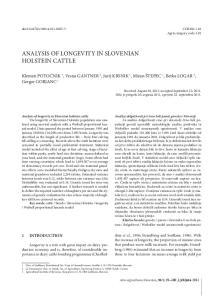 ANALYSIS OF LONGEVITY IN SLOVENIAN HOLSTEIN CATTLE