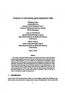 Analysis of microarray gene expression data
