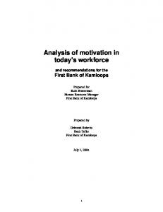 Analysis of motivation in today's workforce