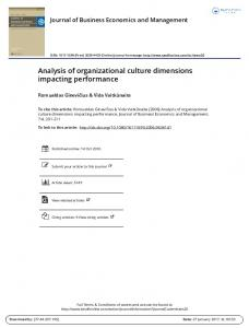 Analysis of organizational culture dimensions impacting performance