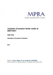 Analysis of pension funds ranks in