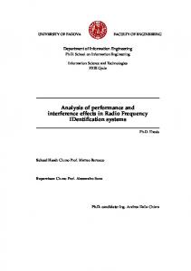 Analysis of performance and interference effects in Radio Frequency IDentification systems