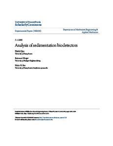 Analysis of sedimentation biodetectors