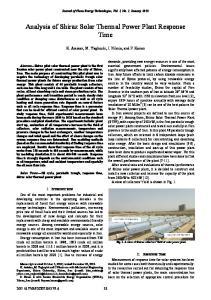 Analysis of Shiraz Solar Thermal Power Plant Response Time