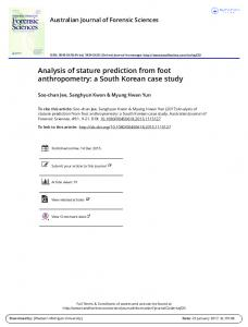 Analysis of stature prediction from foot anthropometry: a South Korean case study