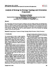 Analysis of Strategy by Strategy Typology and Orientation Framework
