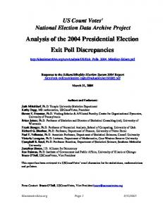 Analysis of the 2004 Presidential Election Exit Poll Discrepancies