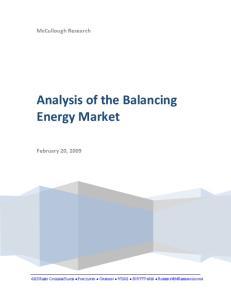 Analysis of the Balancing Energy Market