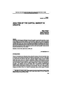 ANALYSIS OF THE CAPITAL MARKET IN CROATIA